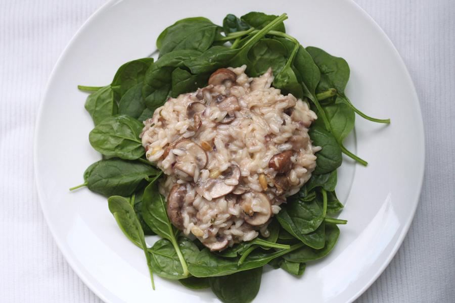 Truffelrisotto met kastanjechampignons en spinazie