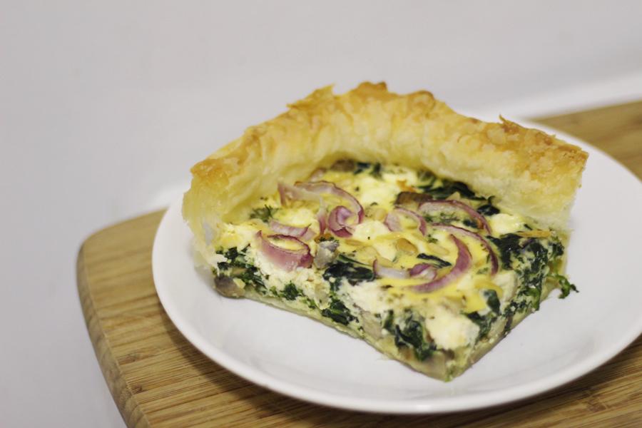 Recept: Quiche met feta, spinazie en champignons