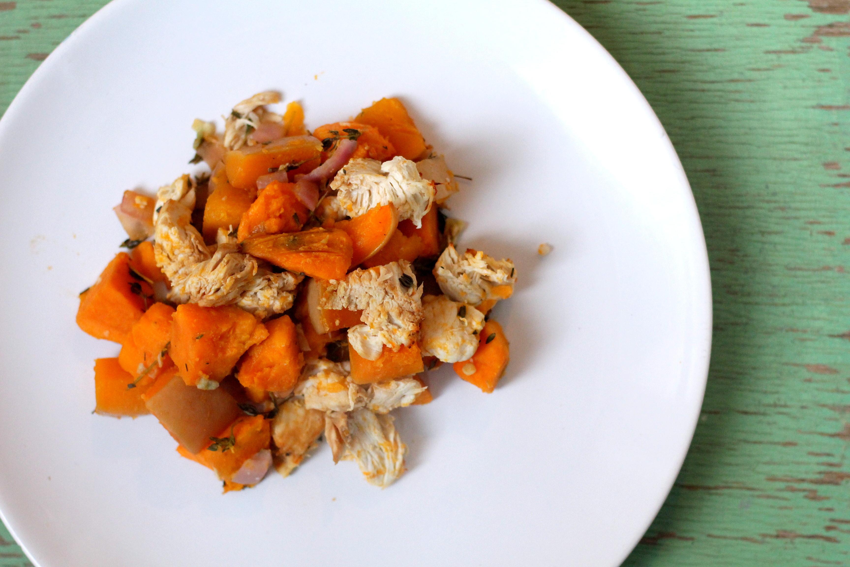 Recept: ovenschotel met zoete aardappel, pompoen en kip