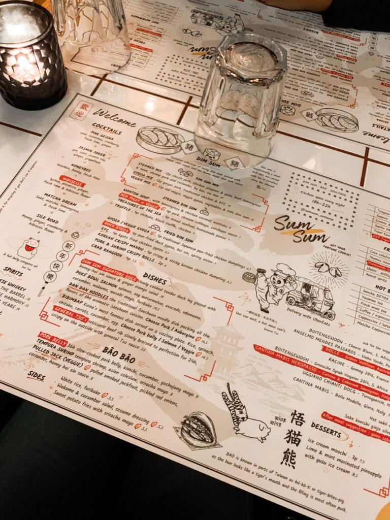 De menukaart van Asian restaurant Sum Sum in Antwerpen
