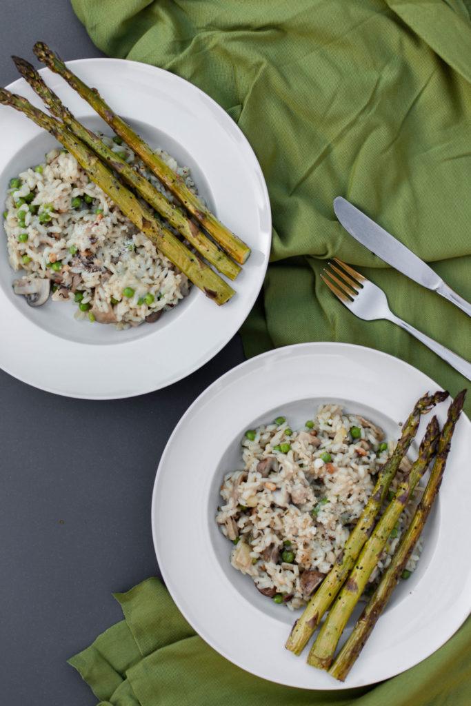 Recept - Vegetarische risotto met groene asperges en oesterzwammen